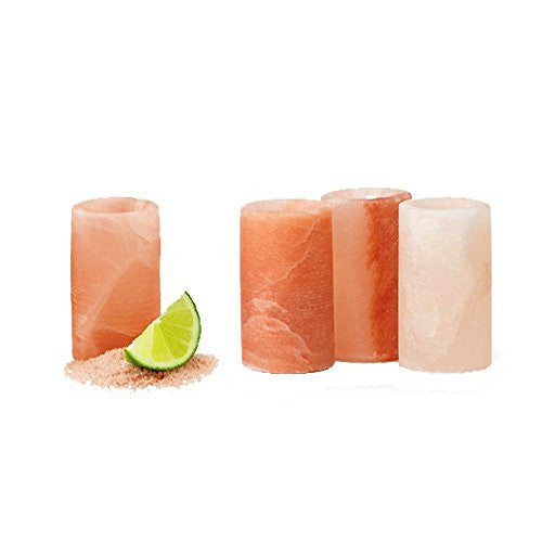Himalayan Salt Shot Glass - Hand Carved Natural Tequila Shooter Glass (4, Natural)