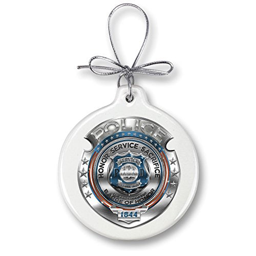 Christmas Ornaments – Police Gifts for Men or Women – Law Enforcement Ornaments with a Silver Ribbon – Police Honor Courage Sacrifice Badge Xmas Ornaments (1 Piece)