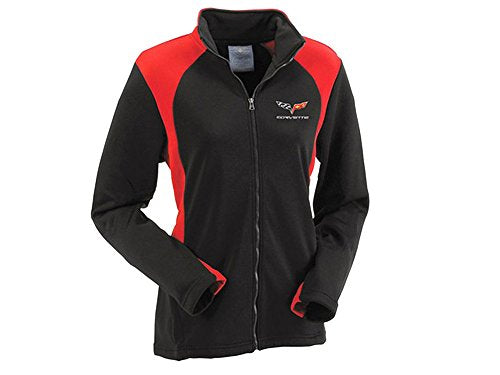 Corvette C6 Woman's Bonded Jacket Black and Red X-Large