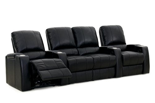 Storm XL850 Home Theater Sectional Couch - Octane Seating - Black Leather - Manual Recline - Straight Row of 4 Chairs with Middle Loveseat