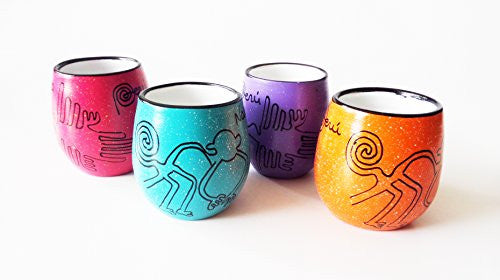 Handcrafted Peruvian Nazca Lines, Ceramic Shot Glasses, Set of 4, Various Colors
