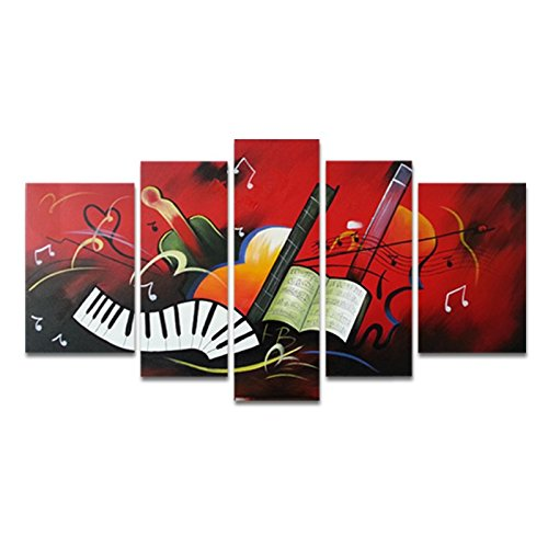 Wieco Art - The Music Score Modern Artwork 5 Panels 100% Hand Painted Stretched and Framed Contemporary Abstract Red Oil Paintings on Canvas Wall Art for Dining Room Bedroom Kitchen Home Decorations