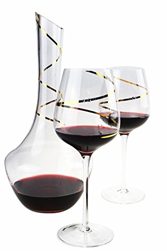 Wine Decanter, Hand Blown 100% Lead Free Crystal Clear Wine Decanter Set With 2 Wine Glasses And wine decanter (1400ml /48oz)Gifts for Valentine's Day 48 oz(1400ML)