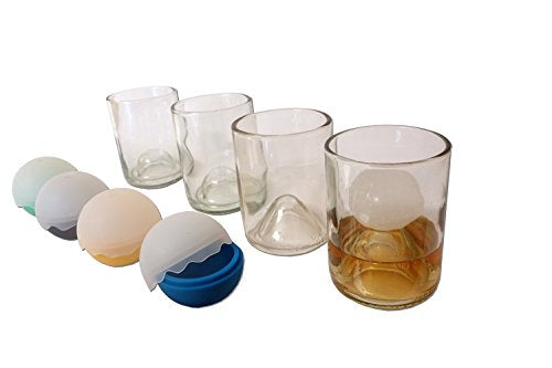 Refresh Glass Bourbon, Whiskey, or Scotch Glasses, made from Recycled Liquor Bottles - 12oz set of 4 Glasses (Includes Ice Balls)