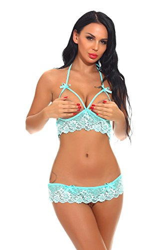 Bargburm Cupless Lingerie Sets Sexy Lace Babydoll Chemises for Women (M, Green)