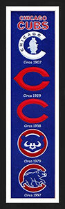 Chicago Cubs Framed Heritage Banner 13x36 inches.