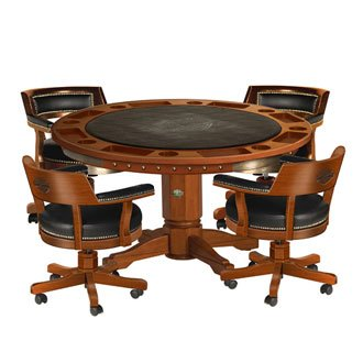 Harley-Davidson Bar & Shield Flames Poker Table & Chairs - Heritage Brown