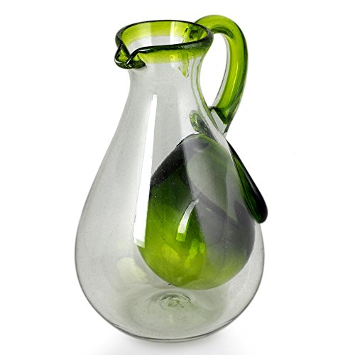 NOVICA Hand Blown Green Glass Eco-Friendly Pitcher with Ice Chamber, 60 oz, Fresh Lemon'