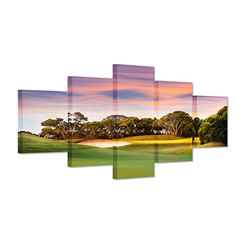 Artwork - Canvas Prints Large 5 Panel Green Grass Golf Course Field At Sunset Wall Art