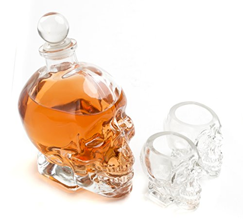 Large Skull Face Decanter with Skull Shot Glasses 25 Ounce Decanter 3 Ounces Shot Glass
