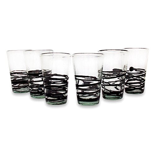 NOVICA Black Swirl Clear Eco-Friendly Hand Blown Drinking Glasses, 16 oz, 'Ebony Spin' (set of 6)