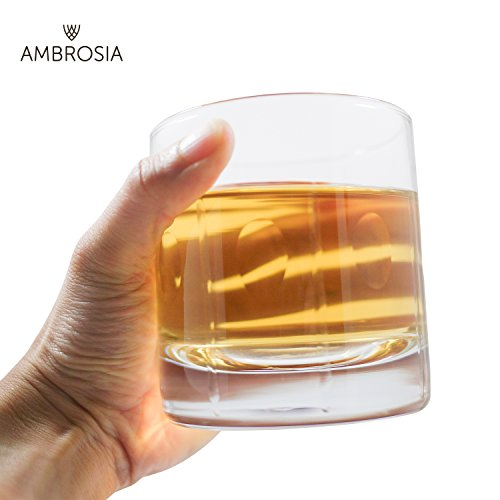 Ambrosia Collection Zeus Whiskey Glasses - Premium 14 oz Large Scotch Old Fashioned Glasses fits Large Ice Cubes up to 2.25 inches - Set of 2