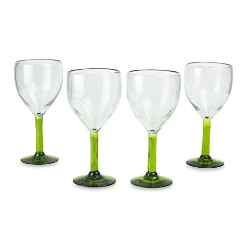 NOVICA Hand Blown Green Eco-Friendly Glass  Glasses, 11 oz. 'Forest Mirage' (set of 4)