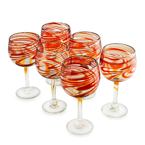 NOVICA Hand Blown Red Recycled Glass Wine Glasses, 11 oz 'Crimson Serpentines' (large, set of 6)