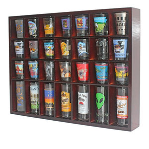 28 Shot Glass Shooter Display Case Holder Cabinet Rack, solid wood, NO Door, Mahogany Finish