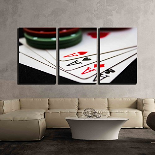 3 Piece Canvas Wall Art - Cards laying around with poker chips on top.