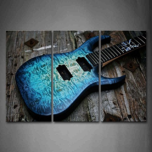 Guitar In Blue Looks Magical Lies On Wooden Wall Art Painting