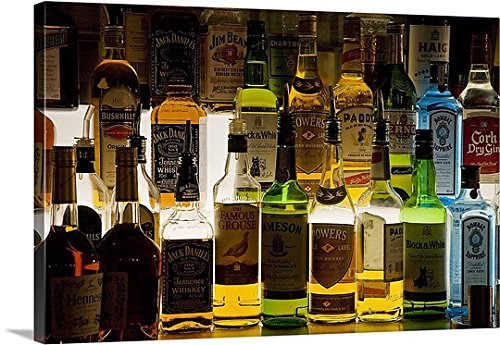 Premium Thick-Wrap Canvas Wall Art Print entitled Bottles of Liquor