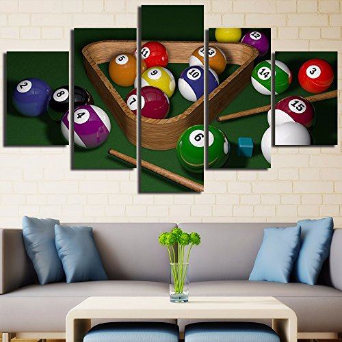 [LARGE]  Canvas Printed Wall Art  5 Panel  Billiards Painting.
