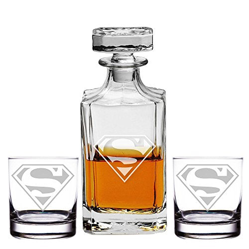 Abby Smith, Superman Engraved Decanter and Rocks Glasses, Set of 3