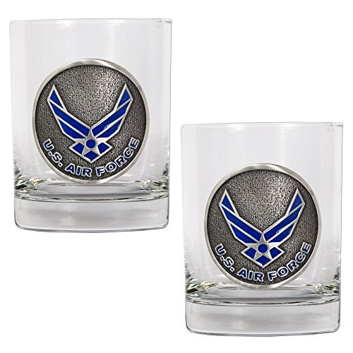 Air Force Rocks Glass Set (2-Piece), 14-Ounce, Clear