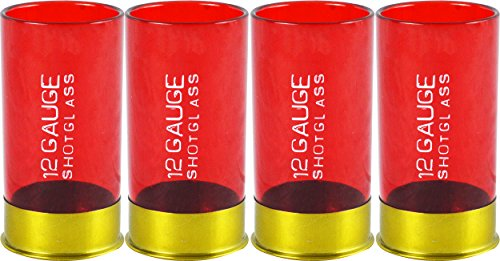 12 Gauge Shotgun Shell Shot Glasses, Red, Set of 4