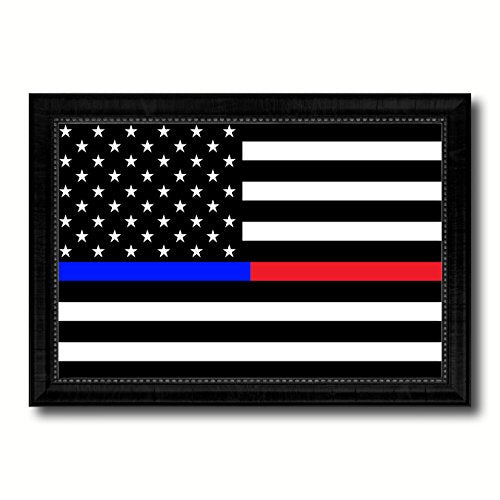Thin Blue Line Police & Thin Red Line Firefighter Respect & Honor Law Enforcement First Responder American USA Flag Canvas Print with Black Picture Frame Gift Ideas Home Decor Wall Art Decoration