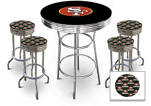 5 Piece Pub/Bar Table Set Featuring the Sports Team Theme Of Your Choice!