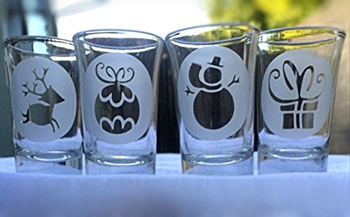 Christmas Shot Glasses: Reindeer, Ornament, Snowman and Present Shot Glass - Hand Engraved Set of 4