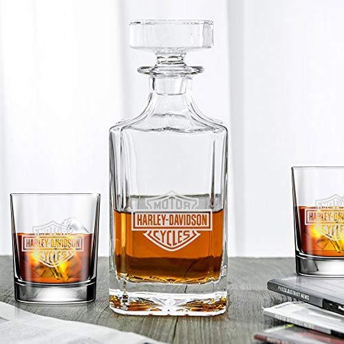 Classic Whiskey Decanter - Motorcycle Club - Engraved 3pcs