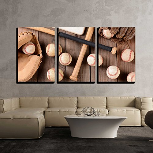wall26 - 3 Piece Canvas Wall Art - baseball equipment on a rustic wood surface - Modern Home Decor Stretched and Framed Ready to Hang - 16