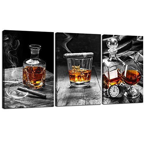 Sea Charm - Canvas Prints Wall Art,Cigar Whisky Canvas Wall Art,Liquor Still Life Painting Picture Giclee Print on Canvas,Framed and Ready to Hang,Modern Kitchen Room Pub Wall Decor - 48