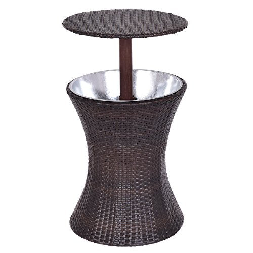 Giantex Adjustable Outdoor Patio Rattan Ice Cooler Cool Bar Table Party Deck Pool 1PC (Brown)