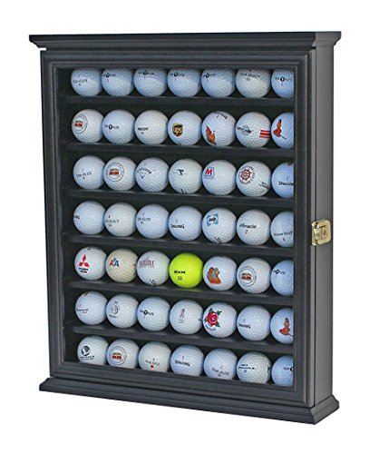 49 Golf Ball Display Case Cabinet Wall Rack Holder w/Lockable (Black)