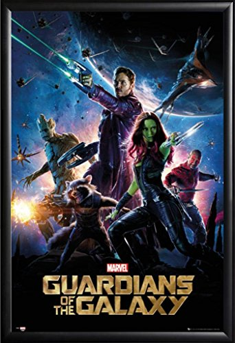 Framed Guardians Of The Galaxy - Movie 24x36 Poster in Matte Black Finish Wood Frame Regular Style