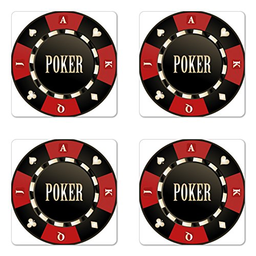 Lunarable Poker Tournament Coaster Set of Four, Casino Chip with Poker Word in Center Rich Icon Card Suits Print, Square Hardboard Gloss Coasters for Drinks, Vermilion Army Green