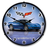 "Collectable Sign and Clock GMRE1112348 Jetstream Blue 14"" Corvette C6 Lighted Clock"