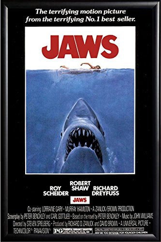 FRAMED Jaws 24x36 Poster in Real Wood Premium Matte Black Finish Crafted in USA