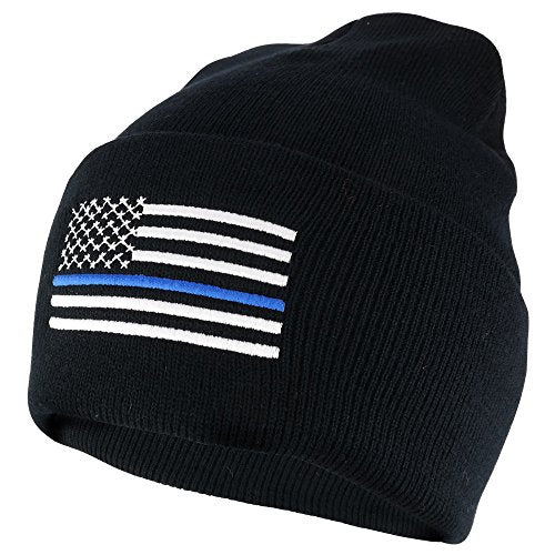 Armycrew Police Law Enforcement Thin Blue Flag Embroidered Cuff Beanie Hat - Black