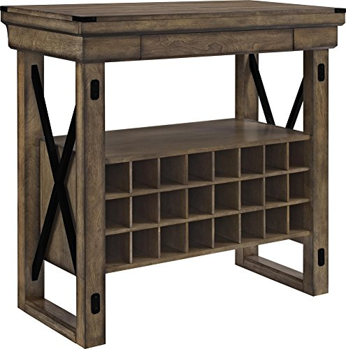 Altra Furniture Wildwood Wood Veneer Bar Cabinet, Rustic Gray