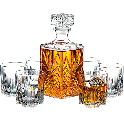 7-Piece Italian Crafted Glass Decanter & 6 Glass Set