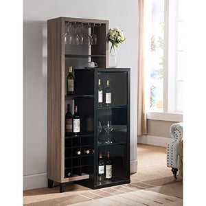 Benzara Uniquely Designed Wine Cabinet, Black and Brown