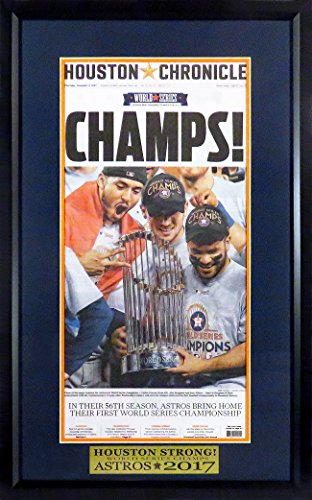 "Houston Astros ""2017 World Series Champion"" Newspaper Display (w/ ""Houston Strong"" Plate)"