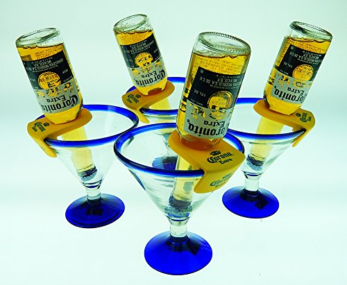 Mexican Glass Margarita Blue Rim 15 Oz with Coronarita Clips Corona Beer Holders (Set of 4 )