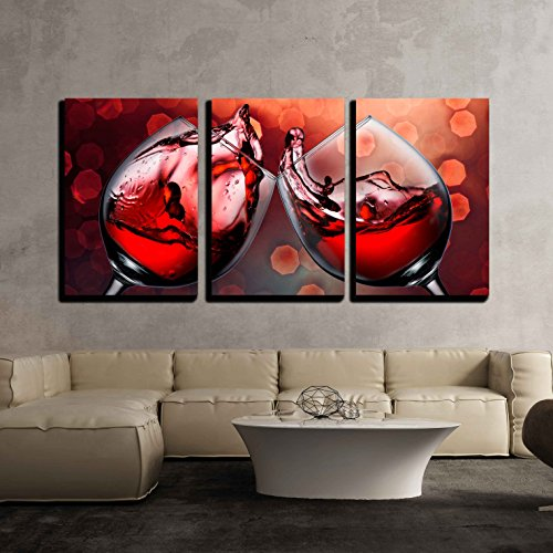 - 3 Piece Canvas Wall Art - Red Wine Glass Cheers with Wine Splash