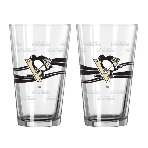NHL Pittsburgh Penguins Satin Etch Pint, 16-ounce, 2-Pack