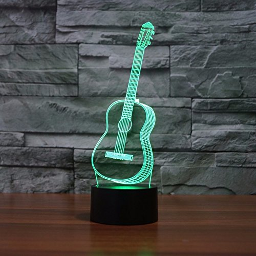 3D Glow LED Night Light Creative Guitar Inspiration 7 Colors Optical Illusion Lamp