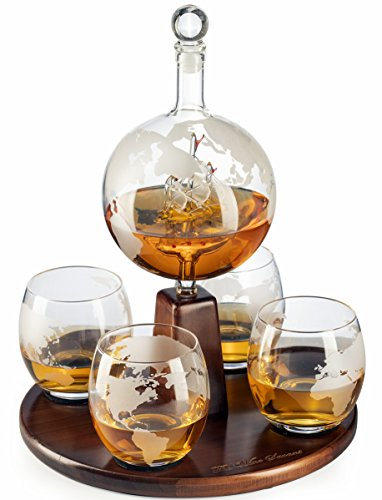 Etched World Decanter Globe Decanter, with Antique Ship and 4 World Map Glasses