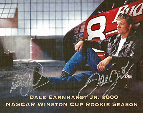 Dale Earnhardt Sr & Dale Earnhardt Jr Budweiser Dual Signed 8x10 Photo Postcard - Autographed Photos