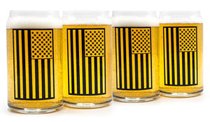 Beer City Glass Can Shaped Glasses American Flag Design in Black or White, Perfect Gift for Fathers Day or July 4th Holiday, 16 oz, Set of 4